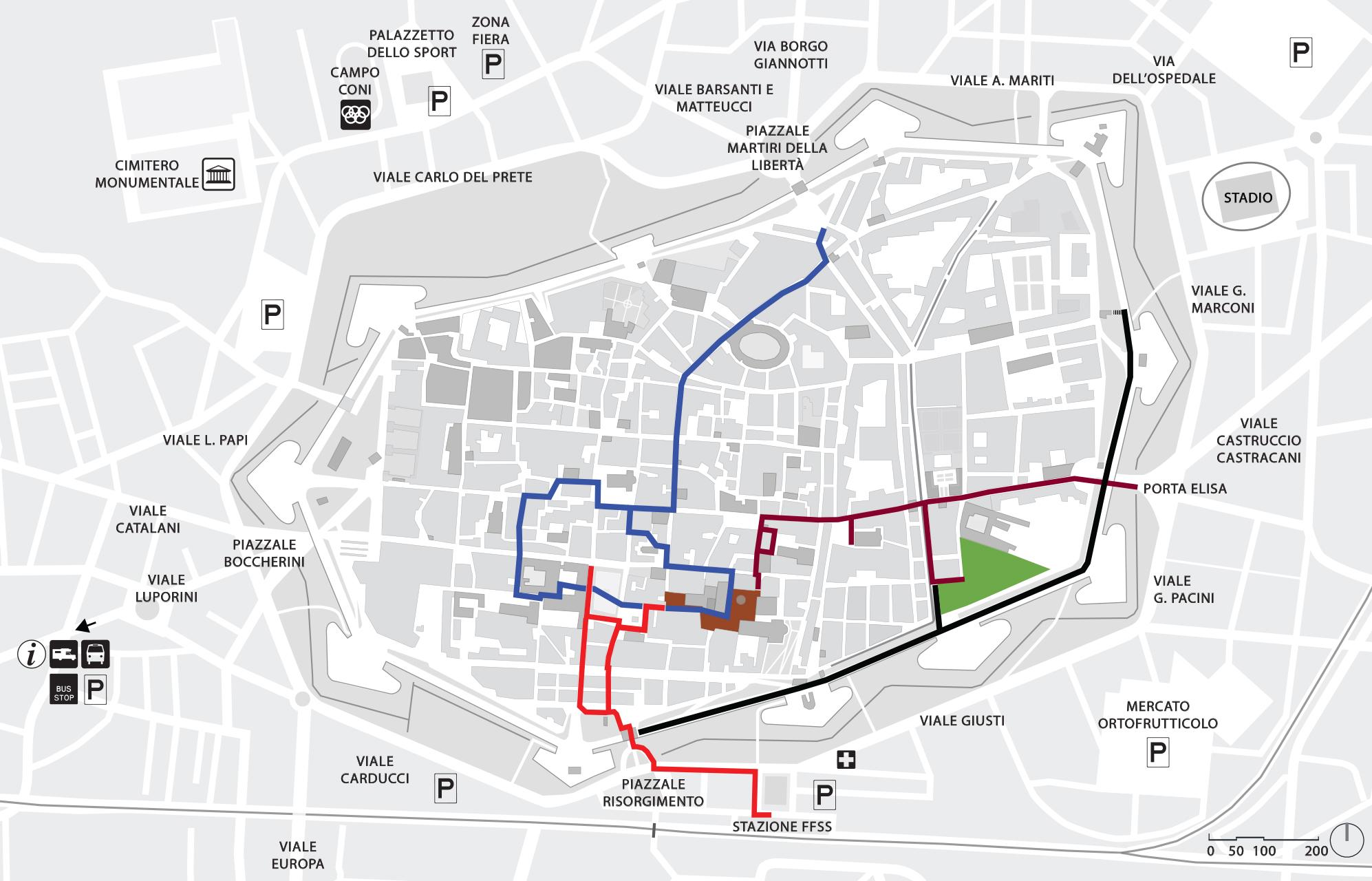 Mappa percorsi accessibili Lucca