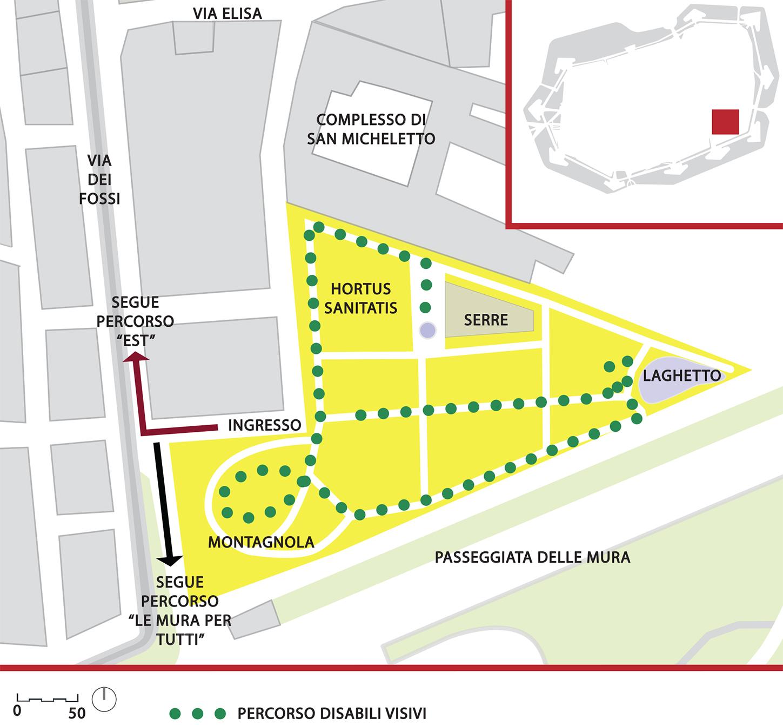 Mappa del percorso denominato orto botanico