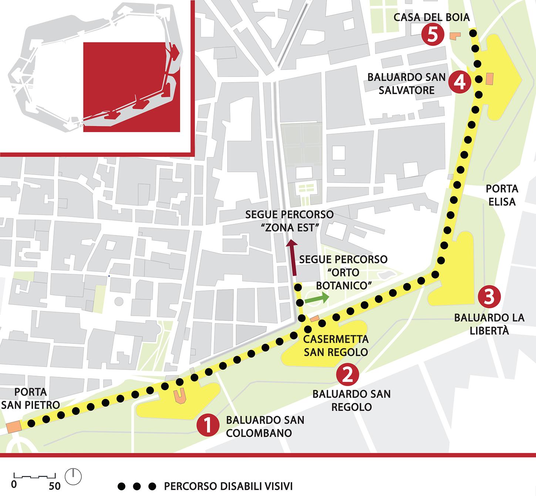 Mappa del percorso denominato le mura per tutti