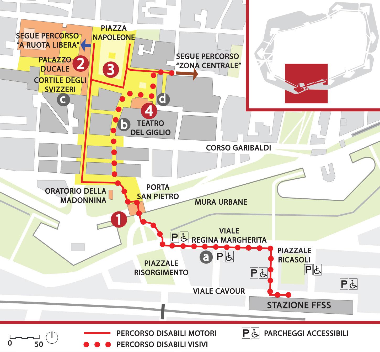 Mappa del percorso sud in dettaglio